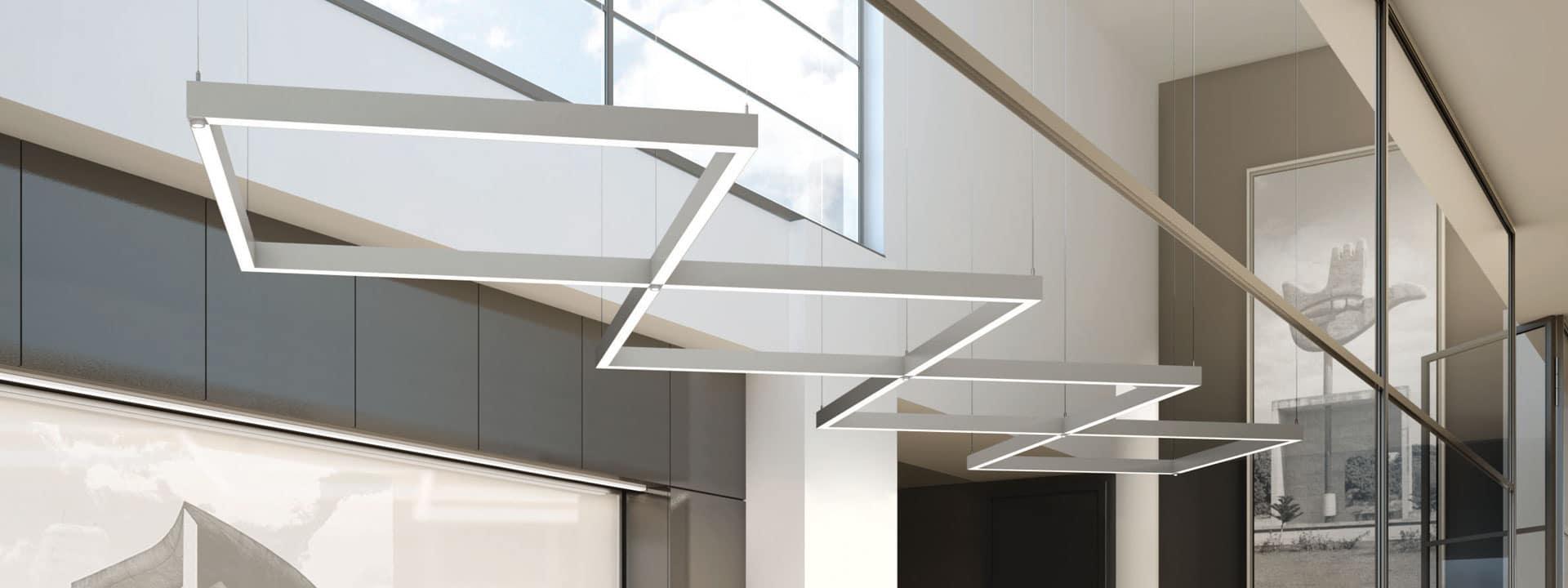 Luminaires de plafond style moderne en losanges